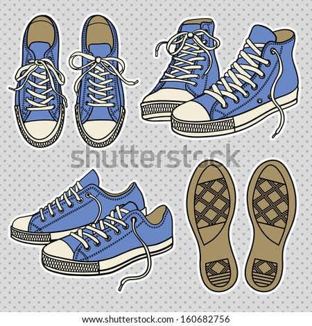 Pairs of Sneakers - stock vector