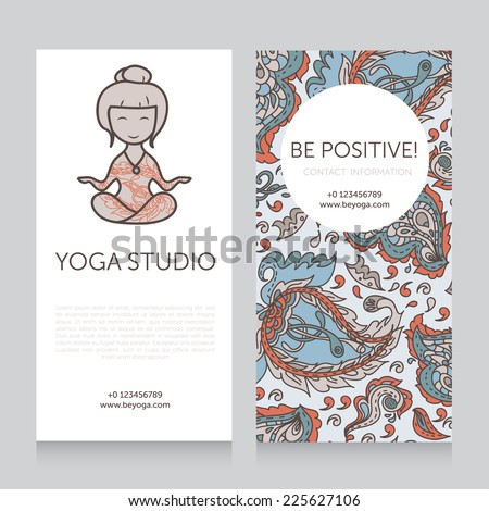 Paisley design template for yoga studio business card, vector illustration