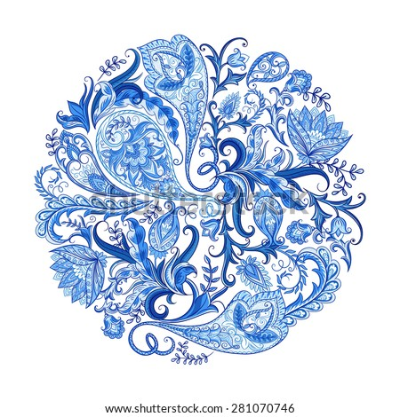 Paisley ethnic decorative round ornament for print. Floral design hand drawn  illustration. - stock vector