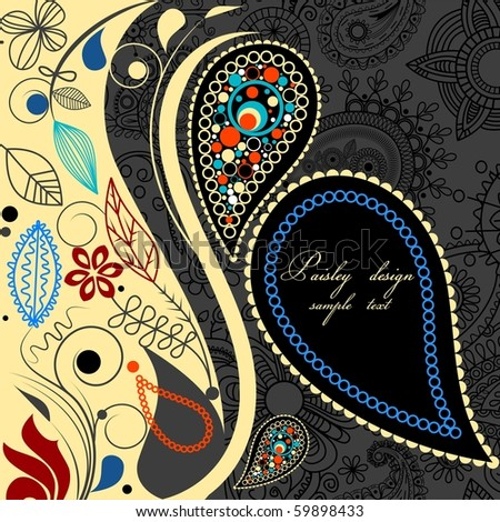 Paisley floral background - stock vector