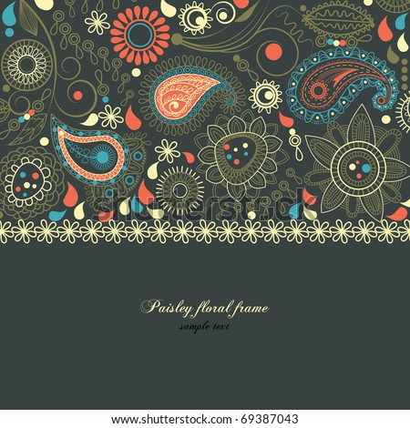Paisley floral frame - stock vector