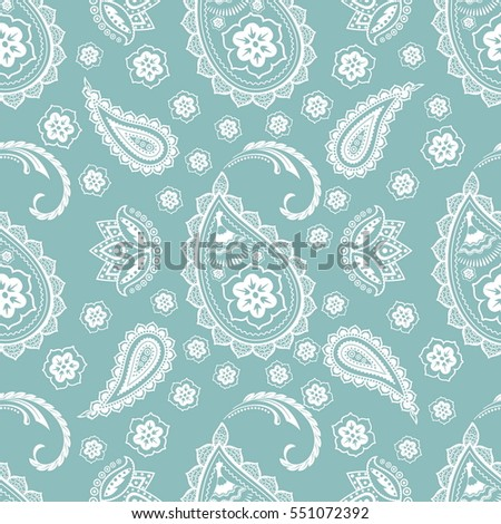 Paisley Floral Seamless Pattern. Indian Cucumber. Traditional Classic Oriental Decorative Ornament. Seamless Texture for Textile, Wallpapers, Backgrounds and Wrapping.