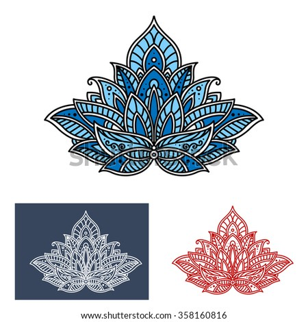 Paisley flower with blue teardrop shaped petals, adorned by persian ethnic curlicue and scrolls. Oriental floral pattern for textile or interior design - stock vector