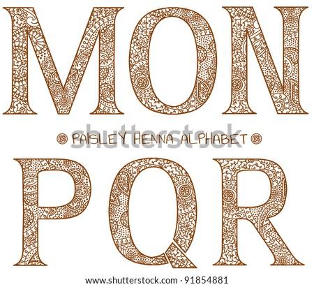 paisley henna alphabet m,n,o,p,q,r - stock vector