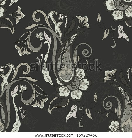 Paisley pattern on grey background. Seamless background - stock vector