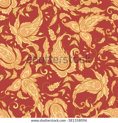 Paisley Pattern. Seamless Asian Textile Background - stock vector