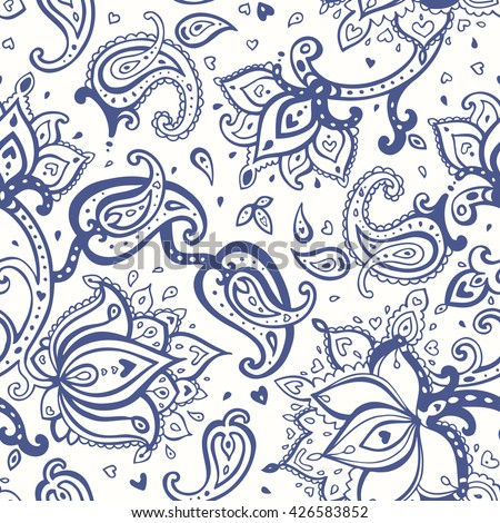Paisley pattern. Seamless wallpaper and textile design