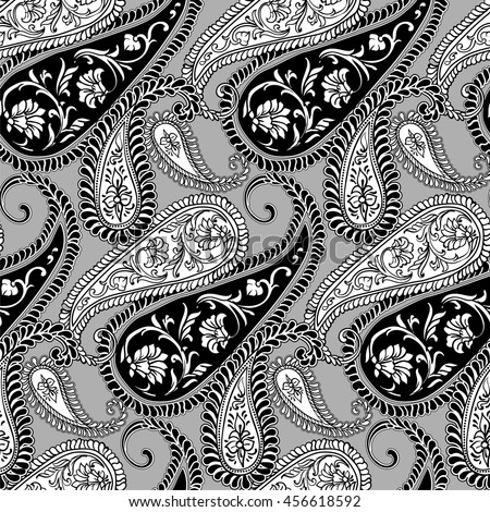 Paisley - seamless ethnic pattern. Floral oriental ethnic background. Arabic and indian tribal ornament. Ornamental motives of the paintings of oriental fabric patterns.
