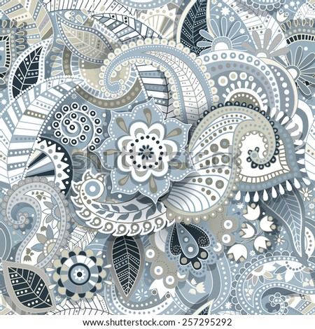 Paisley seamless ornamental pattern with shadow effect - stock vector