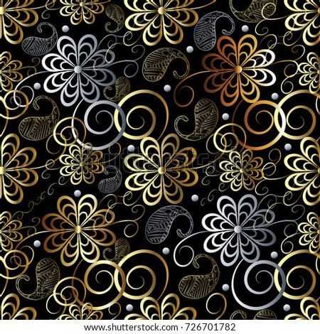 Black Floral Background Vector Gold Silver Paisley Flowers Wallpaper Hand