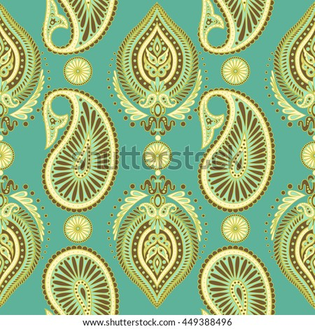 Paisley seamless pattern with Indian ornament. Vector background