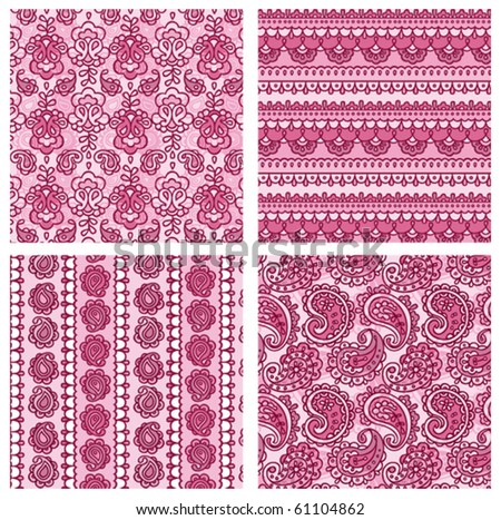 paisley seamless patterns - stock vector