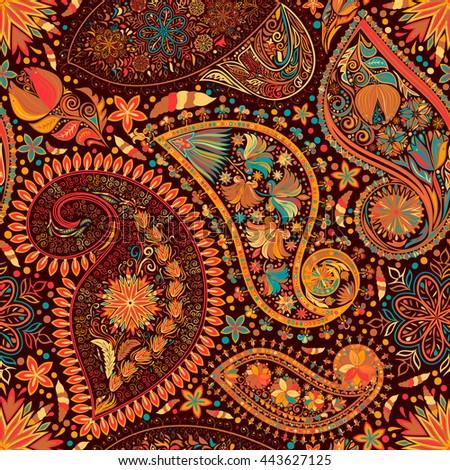paisley vintage floral motif ethnic seamless stock vector 443627125 shutterstock. Black Bedroom Furniture Sets. Home Design Ideas