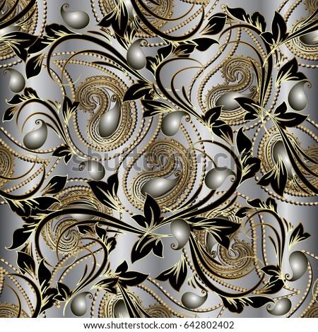 Paisleys floral royal elegant vector seamless stock vector 642802402 paisleys floral royal elegant vector seamless pattern silver background wallpaper illustration with vintage stylish beautiful mightylinksfo