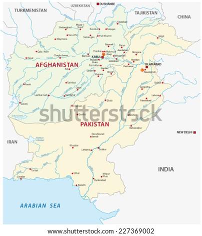 pakistan-afghanistan map - stock vector