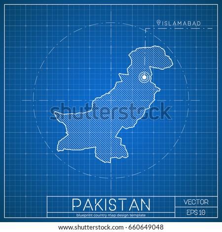 Pakistan blueprint map template capital city stock vector hd pakistan blueprint map template with capital city islamabad marked on blueprint pakistani map vector malvernweather Gallery