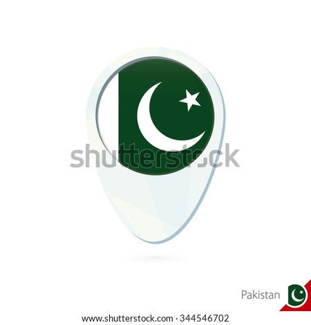 Pakistan flag location map pin icon on white background. Vector Illustration. - stock vector