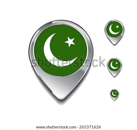 Pakistan flag map pointer. 3d Map Pointer with flag glossy button style on gray background - stock vector