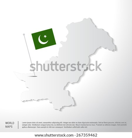 Pakistan flag showing on world map. vector illustration - stock vector
