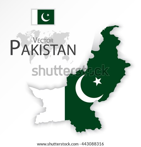Pakistan ( Islamic Republic of Pakistan ) ( flag and map ) ( transportation and tourism concept ) - stock vector