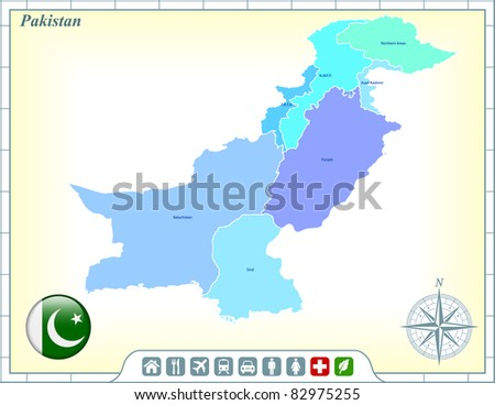 Pakistan Map with Flag Buttons and Assistance & Activates Icons Original Illustration - stock vector