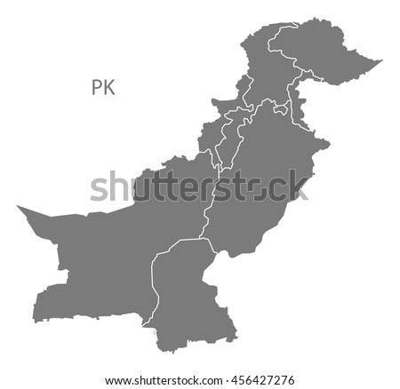 Pakistan provinces Map grey