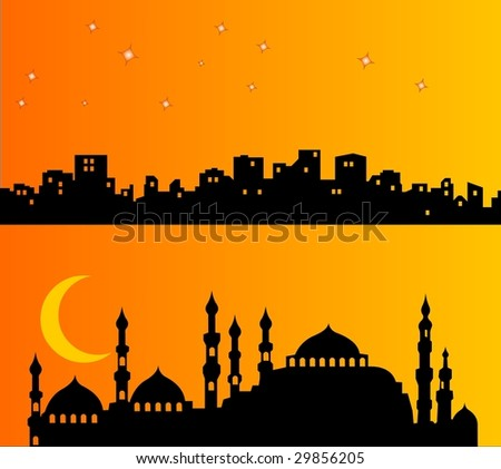 Palaces ad buildings in the night, with moon and stars - stock vector