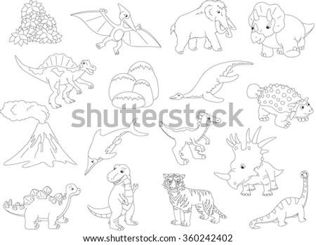 Palaeosaurus, styracosaurus, spinosaurus, ichthyosaur, diplodocus, tyrannosaur, pterodactyl, triceratops, pliosaur, stegosaurus, mammoth, saber-toothed tiger, volcano and palm. Coloring book for kids - stock vector