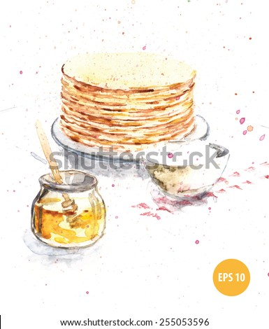 palate with pancakes on breakfast, watercolor painting - stock vector