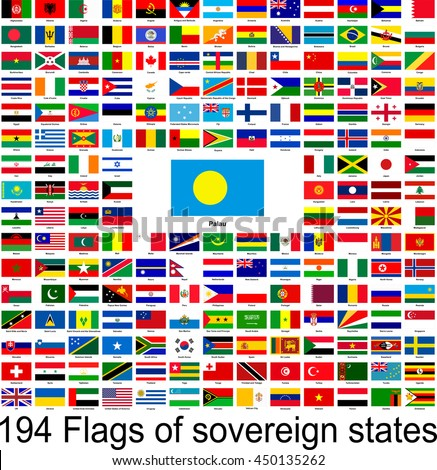 Palau, collection of vector images of flags of the world