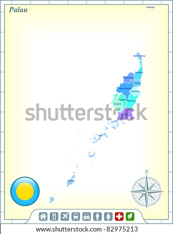 Palau Map with Flag Buttons and Assistance & Activates Icons Original Illustration - stock vector