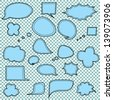 Pale Blue Speech Bubbles, Stitched on a Checkerboard Background, Vector Illustration - stock photo