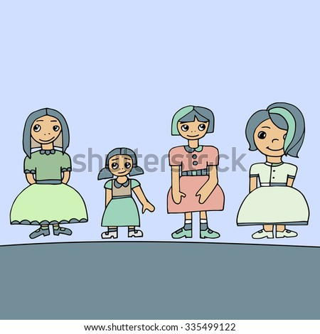 Pale colored set of four cute graphic hand drawn girls, vector illustration - stock vector