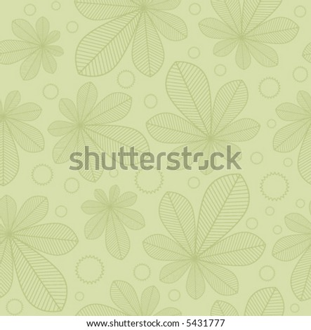 Pale green seamless background pattern with chestnut leaves and chestnuts - stock vector