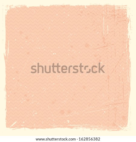 Pale red, rose grunge background, stained and scratched with zig zag pattern.