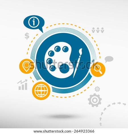 Palette and creative design elements. Flat design concept - stock vector