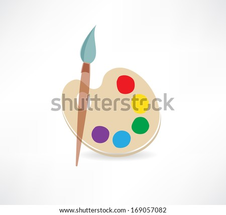 Palette and paint brushes icon - stock vector