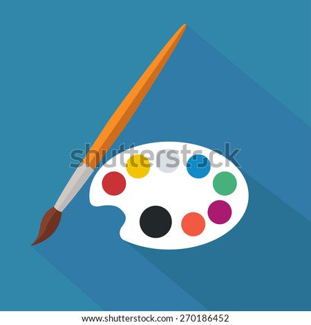 palette and paintbrush / flat design / vector / illustration / icon  - stock vector