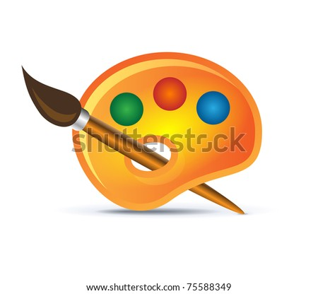 palette icon with brush on white - stock vector