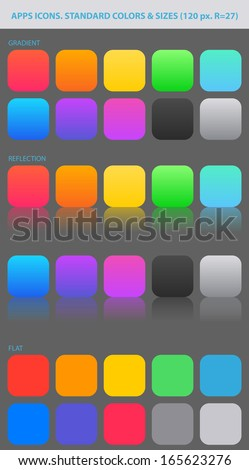 PALETTE of backgrounds. Standard colors and sizes for new apps icons. Reflections and flat. - stock vector