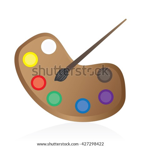 palette with several colors and paintbrush