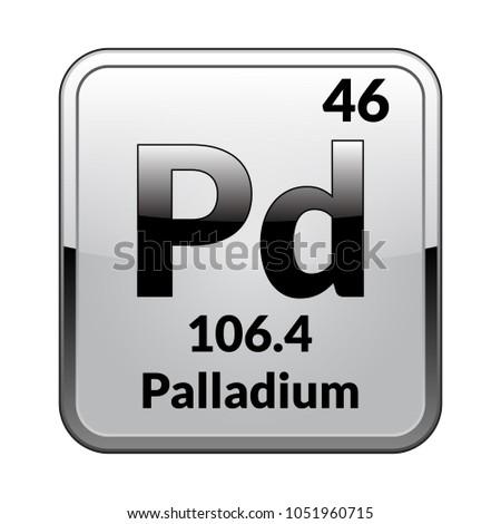 Palladium Symbolchemical Element Periodic Table On Stock Vector