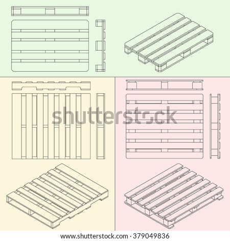 pallets different types all views and isometric outline drawing - stock vector
