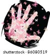 Palm and butterflies I - stock vector