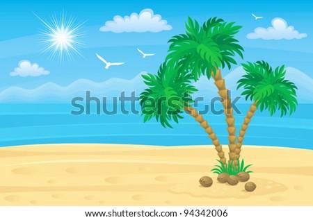 Palm beach - stock vector