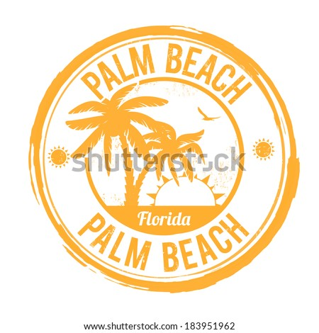 Palm Beach, Florida grunge rubber stamp on white, vector illustration - stock vector