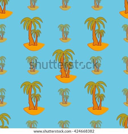 Palm geometric seamless pattern on blue background. . Fashion and bright graphic of summer. Template for prints, textile, wrapping and decoration, wallpaper. Vector illustration.