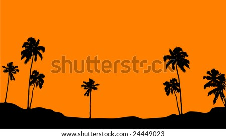 Palm horizon on orange background - stock vector