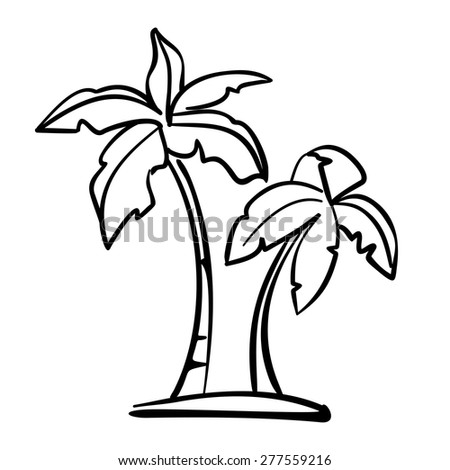 palm  icon sketch  cartoon vector illustration