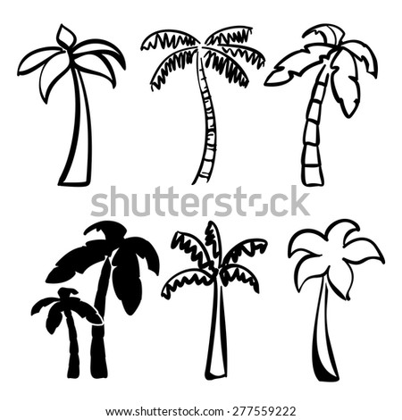 palm  icon sketch collection cartoon vector illustration